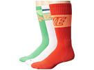 Nike Dri-FIT Crew Sock 3-Pair Pack (White/Light Green Spark/Total Orange/Gamma Orange)