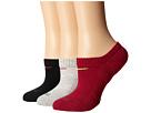 Nike Dri-FIT Cushion No Show 3 Pack (Dark Fireberry/Volt/Grey Heather/Fireberry/Black/Fireberry)