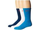 Nike 3 Pair Pack Dri-Fit Cushion Crew (Light Blue Lacquer/Bright Crimson/White/Bright Crimson)