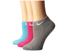 Nike Cotton Cushioned Low Cut with Moisture Management 3-Pair Pack (Clearwater/White/Vivid Pink/White/Dark Grey Heather/White)