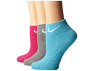 Nike Cotton Cushioned Quarter with Moisture Management 3-Pair Pack (Clearwater/White/Vivid Pink/White/Dark Grey Heather/White)