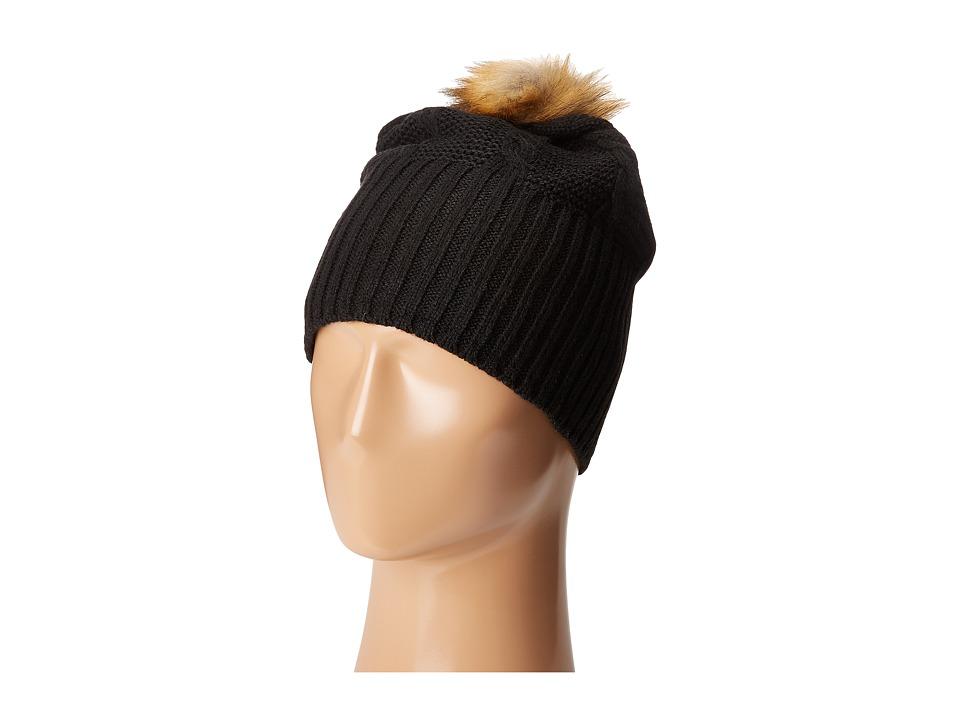 Plush Fleece Lined Faux Fur Pom Pom Hat Black Cold Weather Hats
