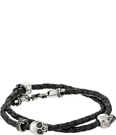 King Baby Studio - Thin Braided Black Leather w/ Hamlet Skulls Double Wrap Bracelet