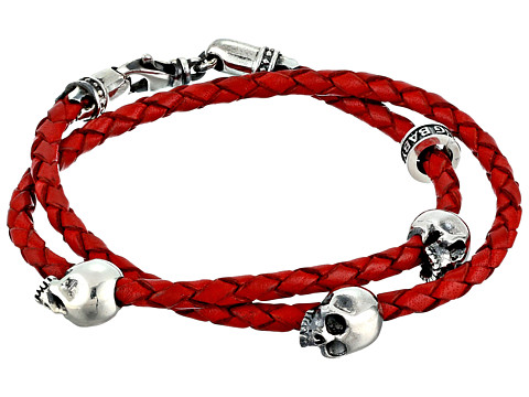 King Baby Studio Thin Braided Red Leather w/ Hamlet Skulls Double Wrap Bracelet