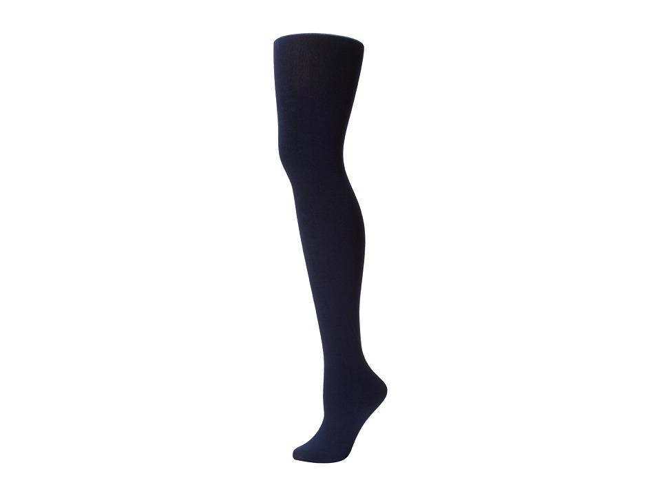 Plush Fleece Lined Full Foot Tights Navy Fishnet Hose
