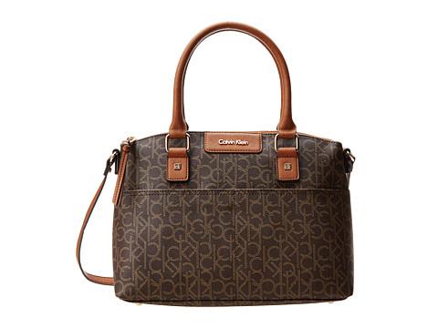 Calvin Klein Hudson Monogram Satchel - Brown/Khaki/Luggage Saffiano