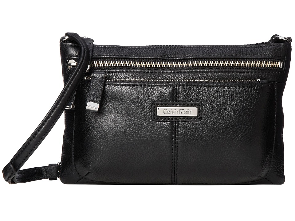Calvin Klein - Key Item Leather Crossbody (Black 2) Cross Body Handbags