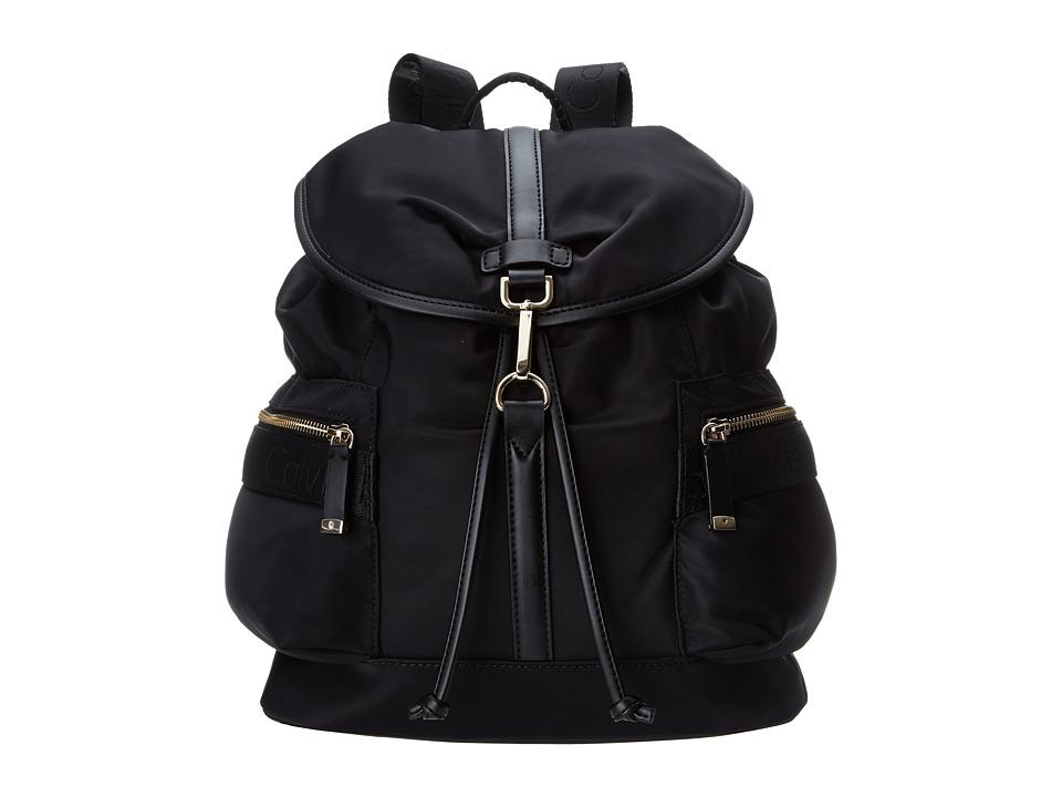 Calvin Klein Nylon Backpack (Black/Gold) Backpack Bags
