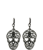 Betsey Johnson - Blackout Filigree Skull Drop Earrings