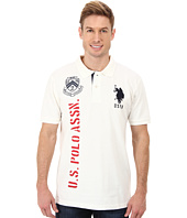 U.S. POLO ASSN. - Solid Short Sleeve Pique Polo w/ Print Graphics
