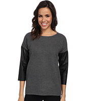 Calvin Klein - Crew Sweater w/ Faux Leather Sleeves