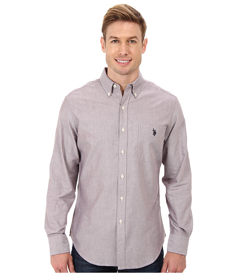 U s polo assn long sleeve solid oxford button down shirt for Oxford long sleeve button down shirt