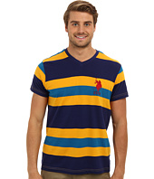 U.S. POLO ASSN. - Short Sleeve V-Neck Cotton Jersey Striped T-Shirt