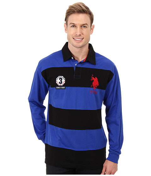 U s polo assn long sleeve stripe solid heavy weight for Long sleeve striped rugby shirt