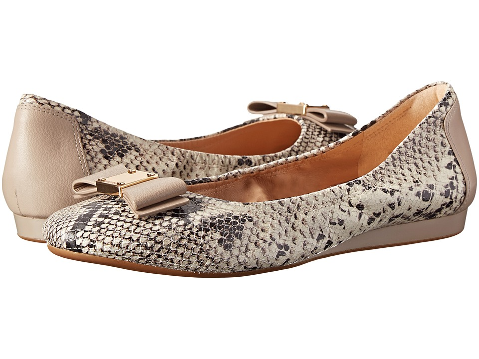 Cole Haan Tali Bow Ballet (Natural Roccia Snake Print) Wo...