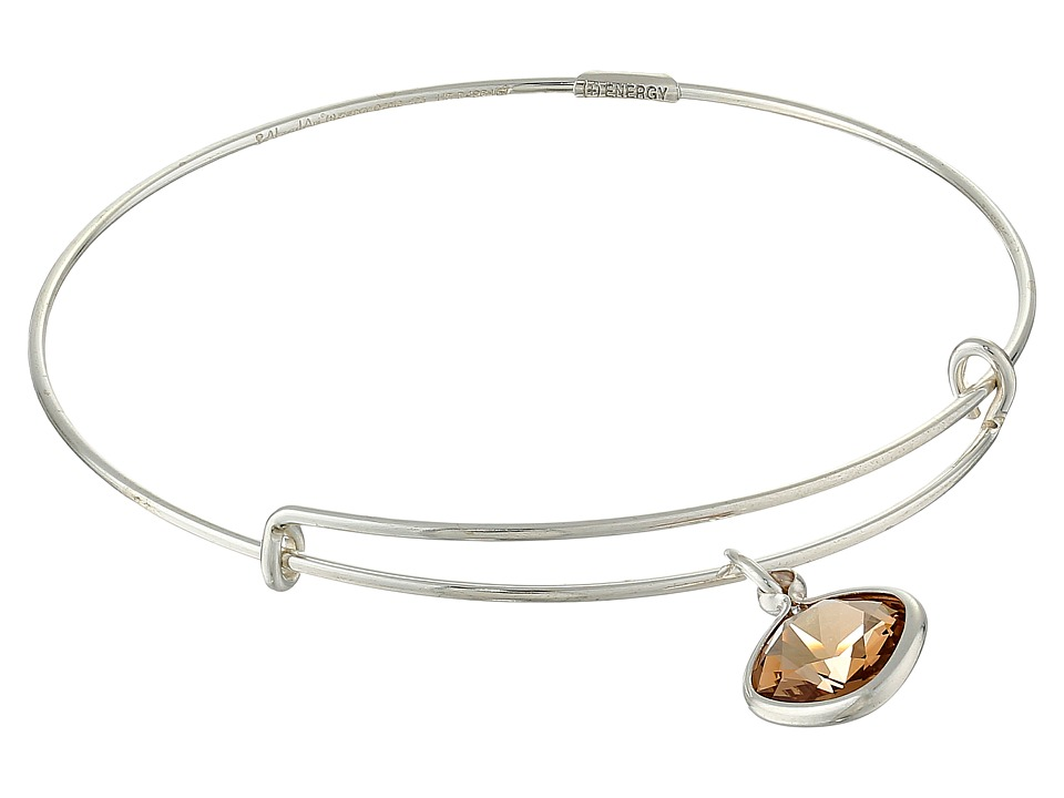 Alex and Ani - Precious Light Smokey Topaz Clarity Charm Bangle (Silver/Brown) Bracelet