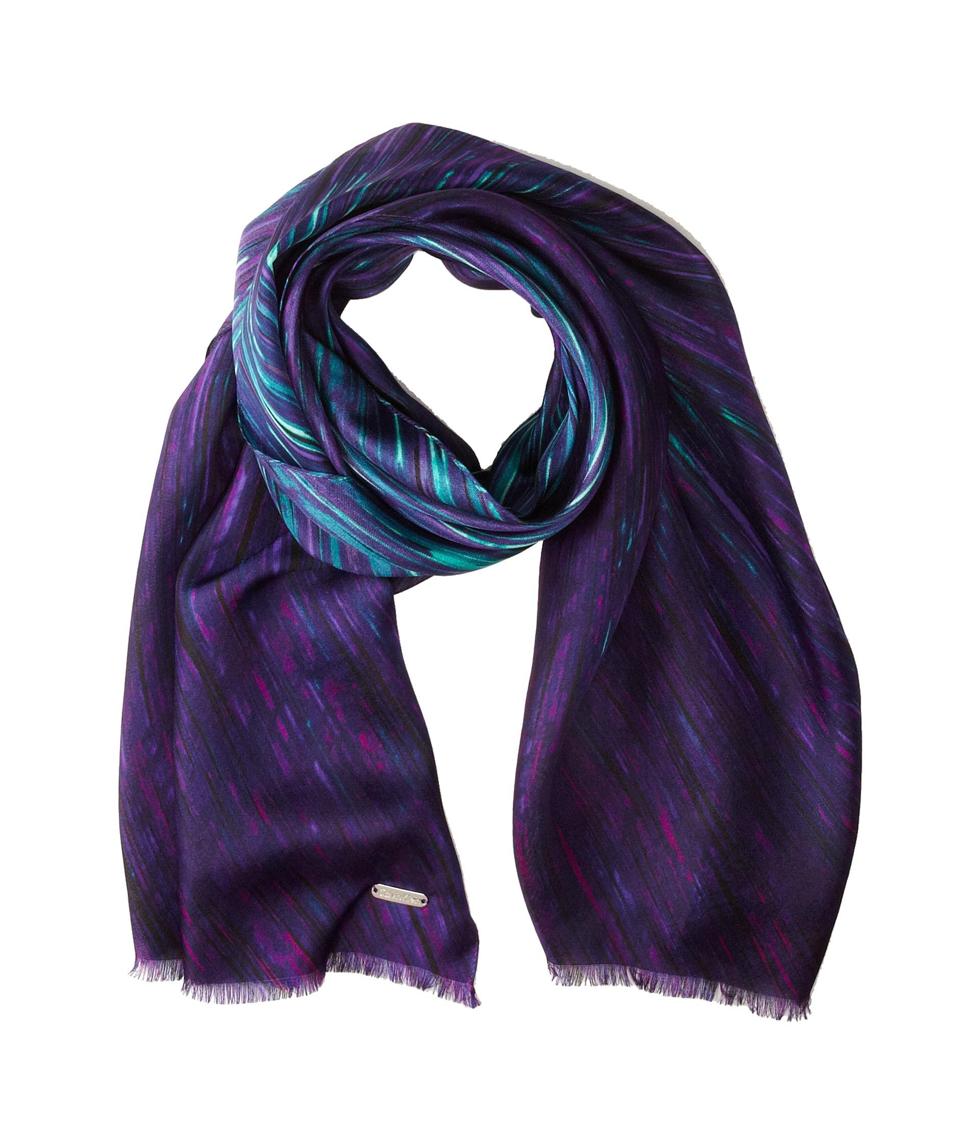 calvin klein ombre paint stroke silk scarf purple