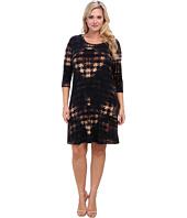 Karen Kane Plus - Plus Size Red Sky Houndstooth Three Quarter Sleeve Dress