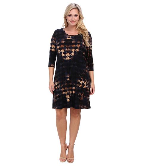 Karen Kane Plus - Plus Size Red Sky Houndstooth Three Quarter Sleeve Dress (Print) - Apparel