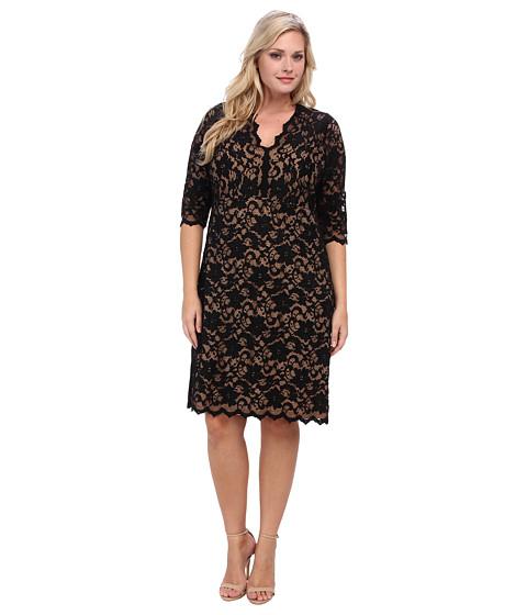 Karen Kane Plus Plus Size Scallop Lace Dress (Black/Nude) Women's Dress