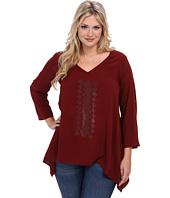Karen Kane Plus - Plus Size Red Sky Roll Up Sleeve Embellished Top