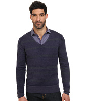 John Varvatos Collection - Artisan Reverse Print Long Sleeve Striped V-Neck Sweater Y1598Q4