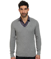 John Varvatos Collection - Plaited Long Sleeve V-Neck Cable Sweater Y1558Q4