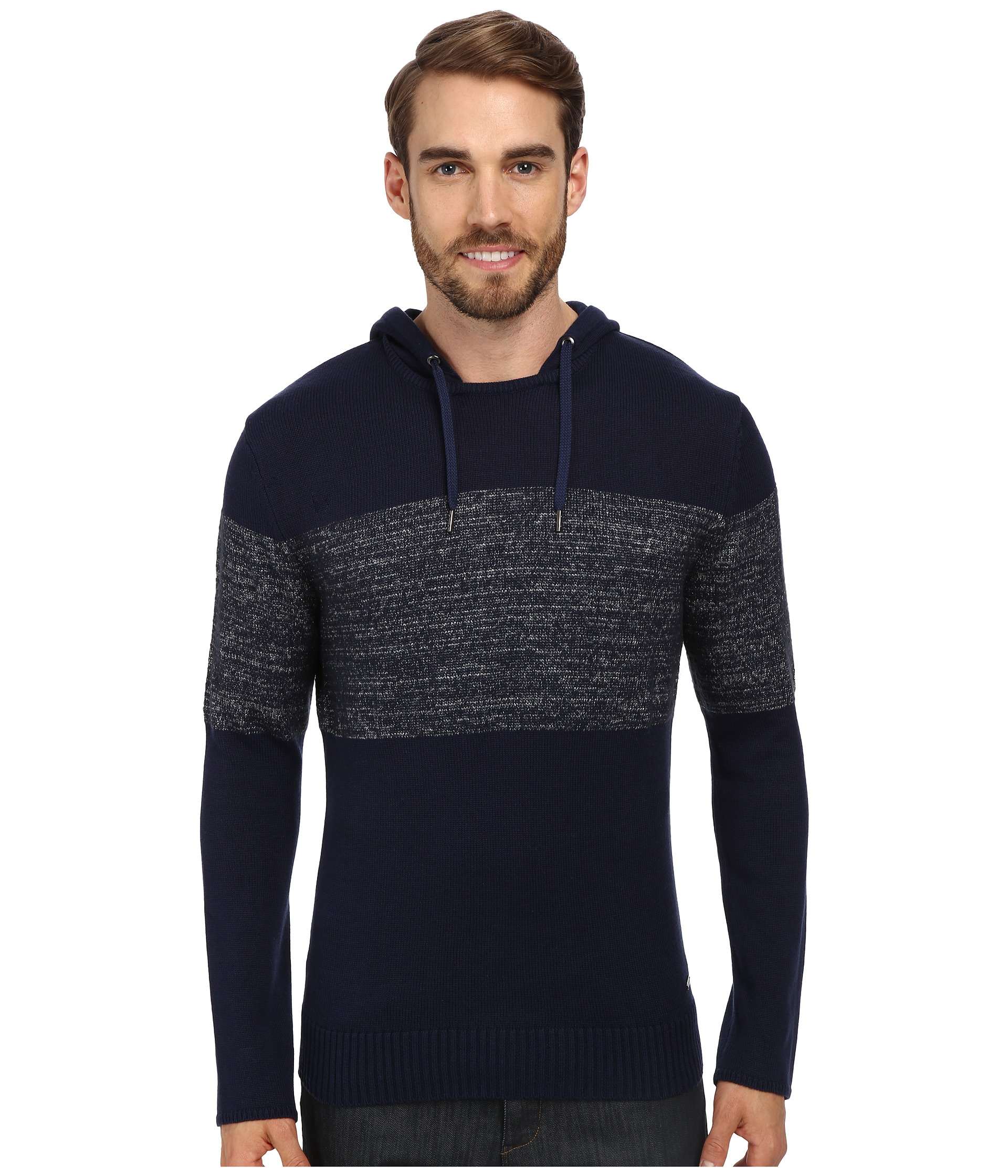 calvin klein jeans 7gg parallel knit colorblocked hoodie shipped free at zappos. Black Bedroom Furniture Sets. Home Design Ideas