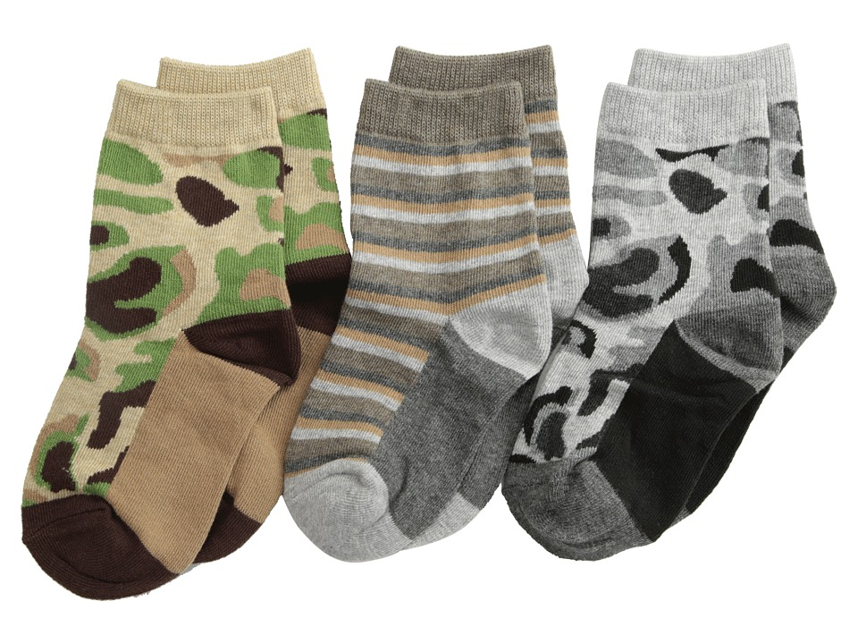 Jefferies Socks Camo Stripe Crew Socks 3 Pack (Infant/Toddler/Little Kid/Big Kid) (Camouflage) Boys Shoes