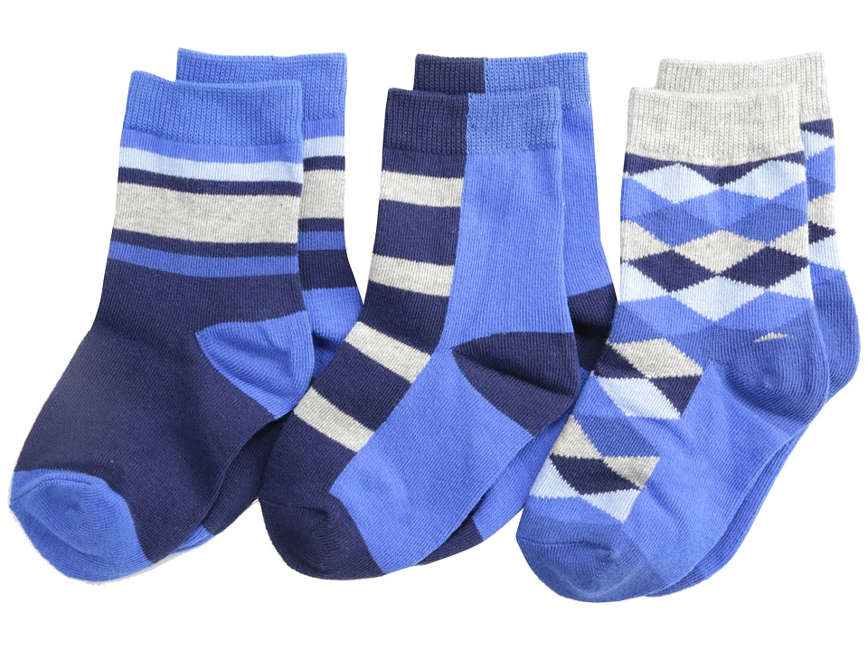 Jefferies Socks - Argyle Stripe Crew Socks 3 Pack (Toddler/Little Kid/Big Kid) (Navy) Boys Shoes