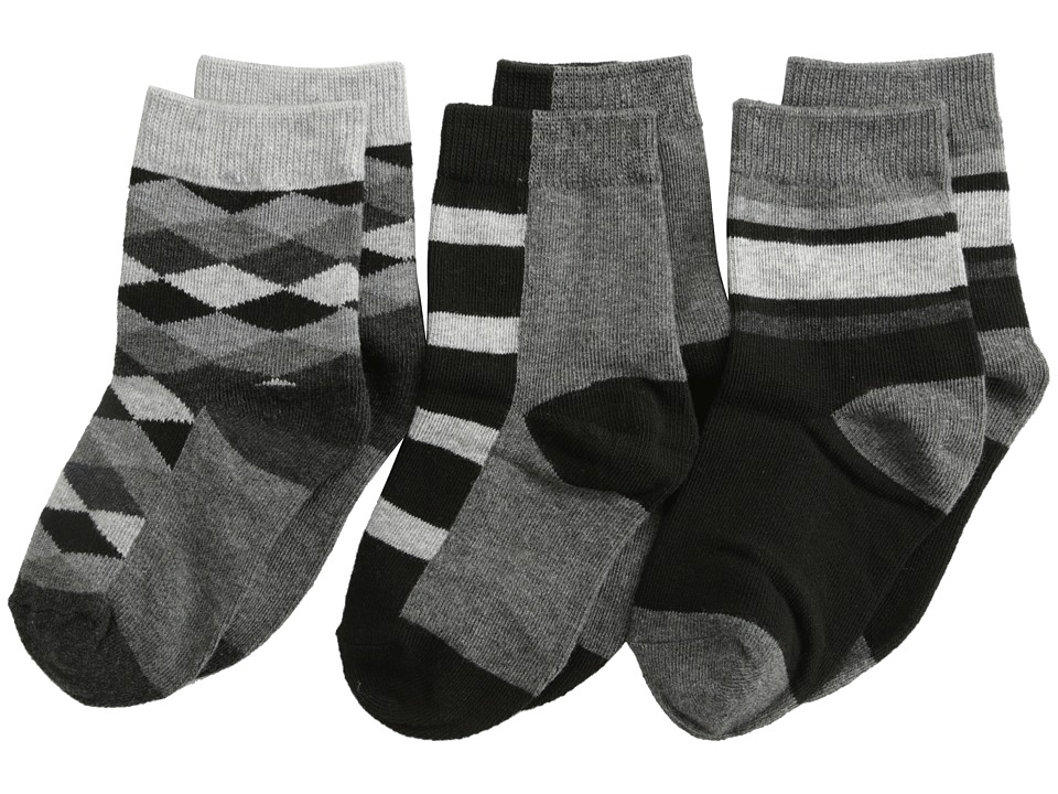 Jefferies Socks - Argyle Stripe Crew Socks 3 Pack (Toddler/Little Kid/Big Kid) (Black) Boys Shoes