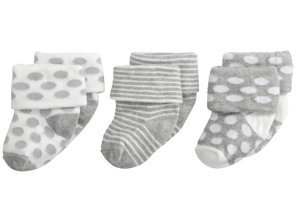 Jefferies Socks Turn Cuff 3 Pack Infant/Toddler Grey Heather Kids Shoes