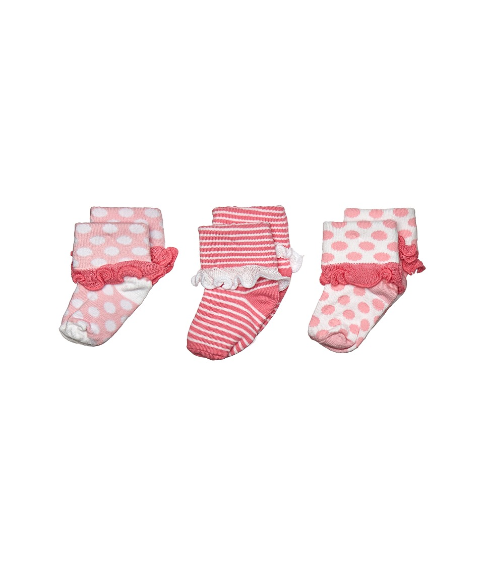 Jefferies Socks Turn Cuff 3 Pack Infant/Toddler Pink Girls Shoes