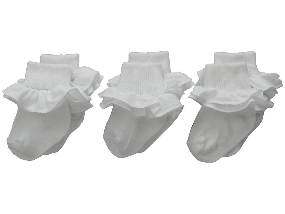 Jefferies Socks - Misty Ruffle Turn Cuff 3 Pack (Infant/Toddler/Little Kid/Big Kid) (Asst A (1) White (1) White (1) White) Girls Shoes