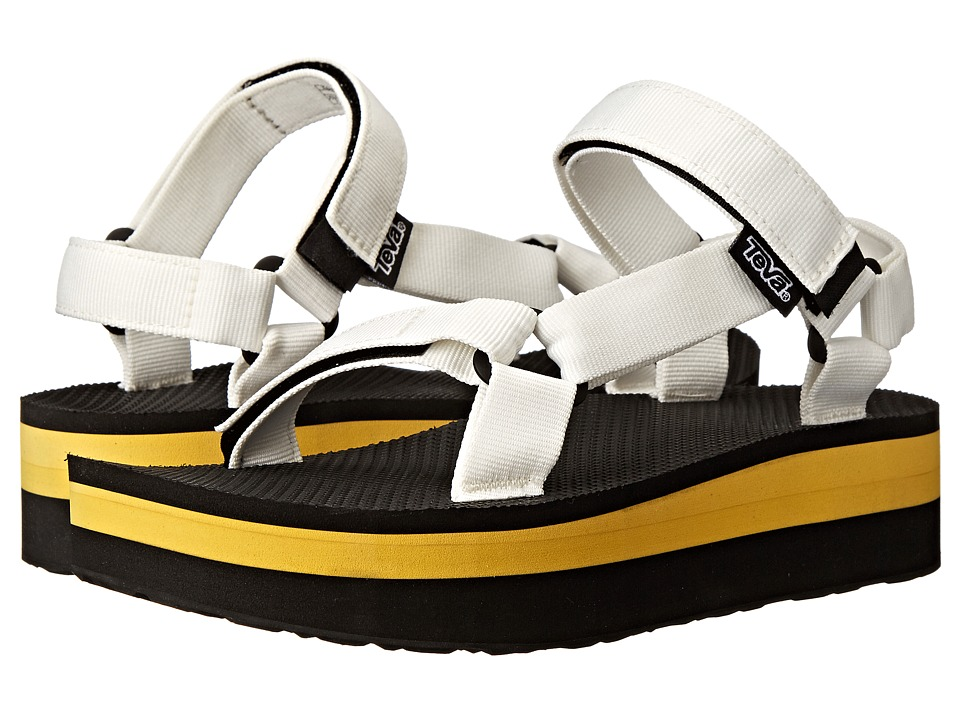 Teva Flatform Universal White/Yellow Womens Sandals