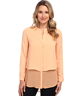 DKNYC - L/S Chiffon Double Layer Button Thru Blouse