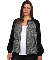 DKNYC - Plus Size L/S Bomber Jacket w/ Faux Leather and Solid Ponte Inserts