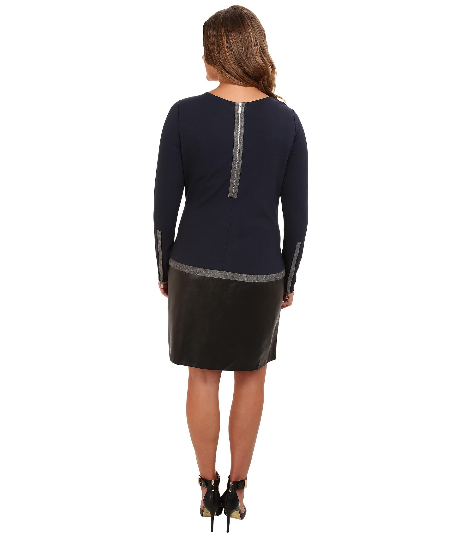 dknyc plus size l s faux leather skirt dress w color block