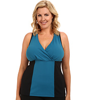 MSP by Miraclesuit - Plus Size Color Block Tank with Interior Bra and Core Control