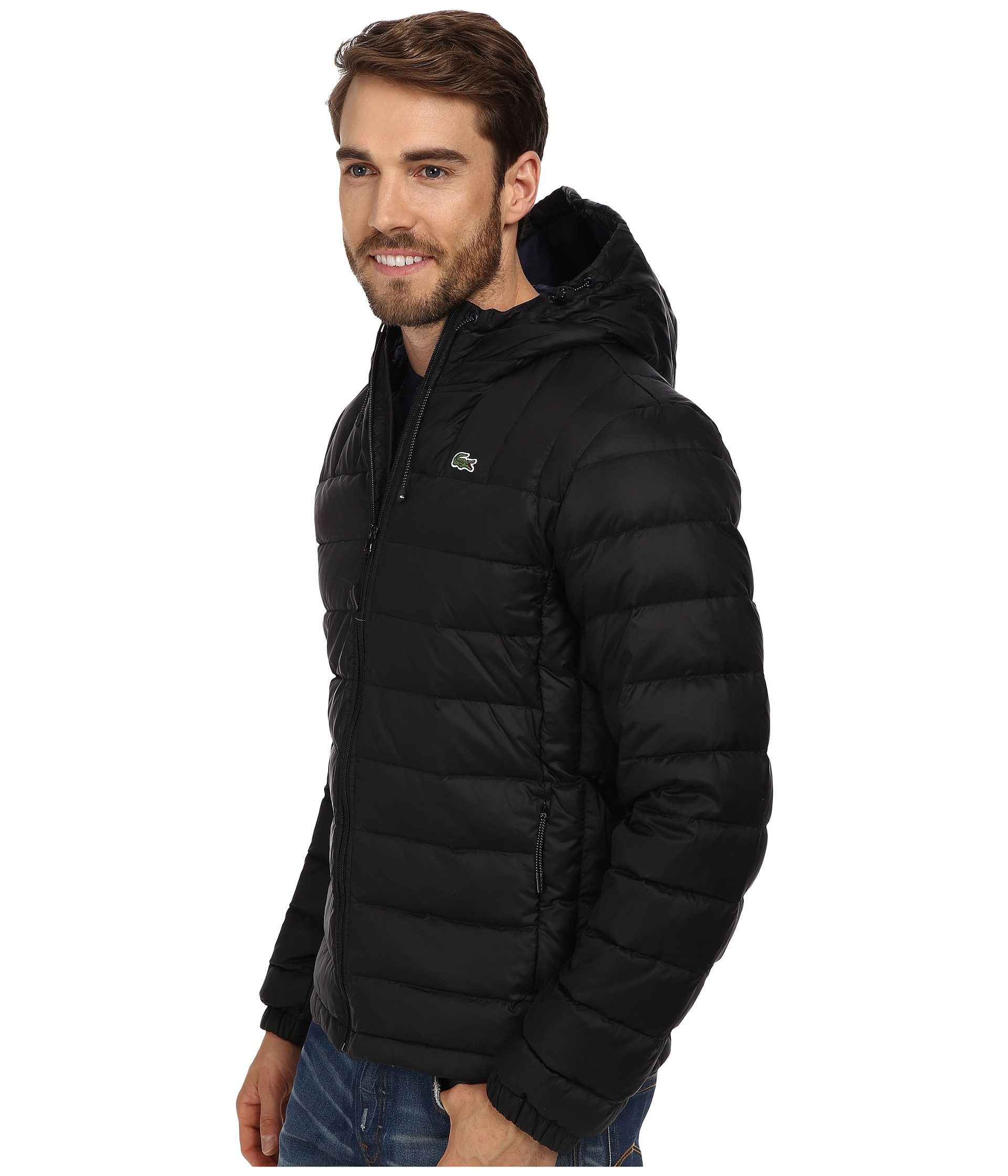 lacoste packable down jacket black navy blue shipped free at zappos. Black Bedroom Furniture Sets. Home Design Ideas