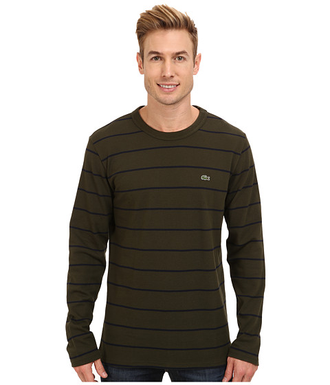 Lacoste l s pique stripe crew neck t shirt for Lacoste stripe pique polo shirt