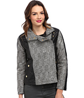 KC Collections - Lurex Herringbone Faux Leather Trim Jacket