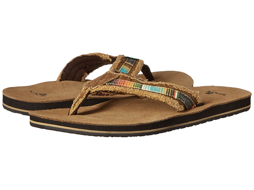 Sanuk Fraid So Tan Multi Mens Toe Open Shoes