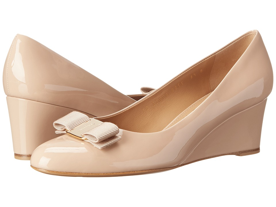 Salvatore Ferragamo Patent Leather Closed Toe Wedge (New Bisque) Women