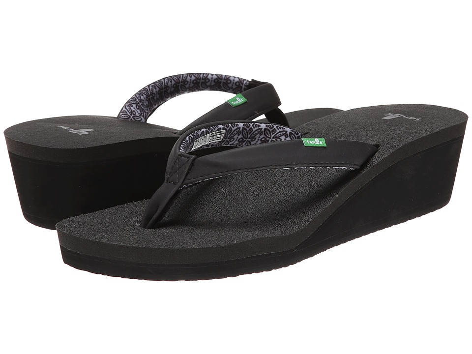 Sanuk Yoga Zen Wedge Black Womens Sandals