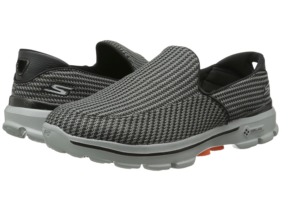 SKECHERS Performance - Go Walk 3 (Charcoal/Orange) Mens Slip on  Shoes