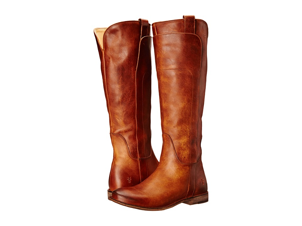 Frye Paige Tall Riding Cognac Antique Pull Up Womens Pull on Boots