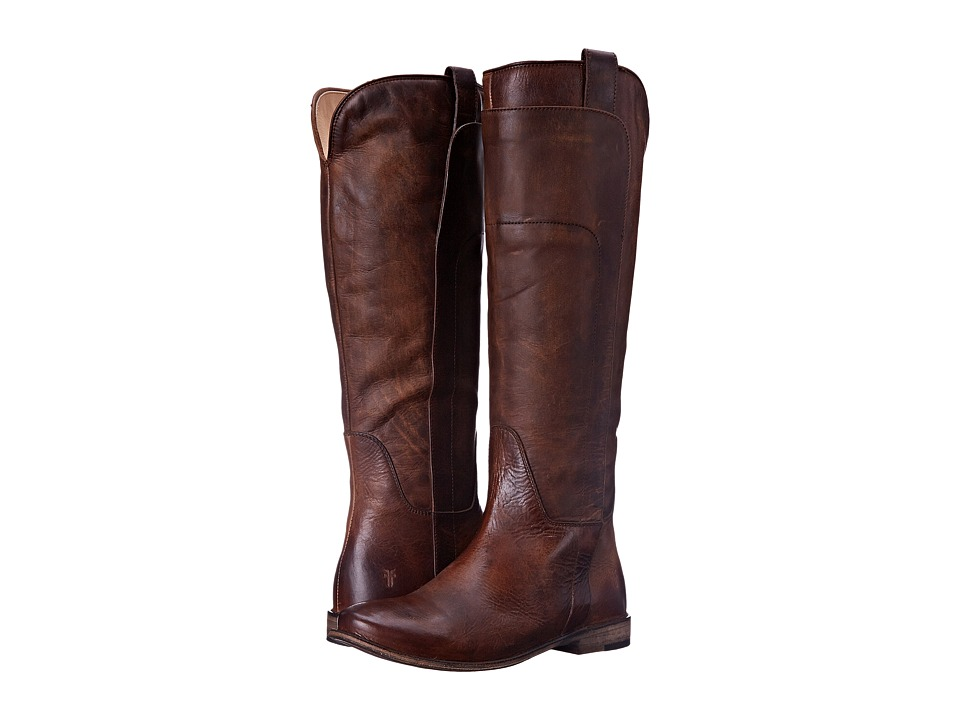 Frye Paige Tall Riding (Dark Brown Antique Pull Up) Women's Pull-on Boots