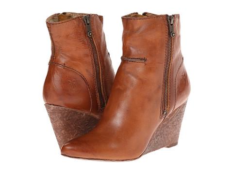 Frye Regina Seam Wedge - Cognac Smooth Vintage Leather