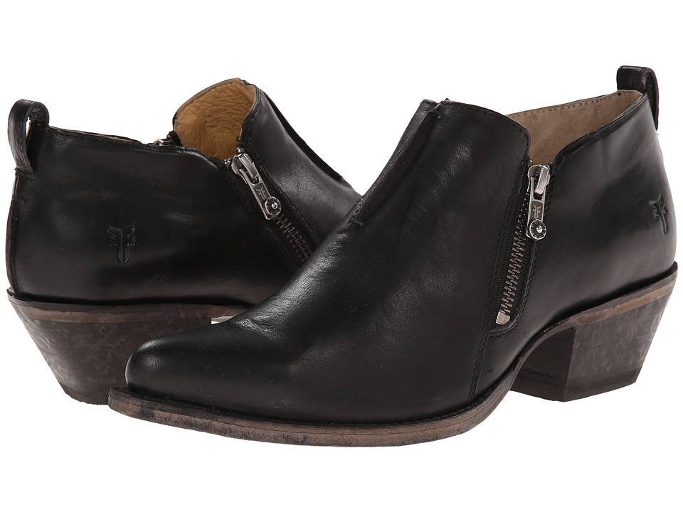 Frye Sacha Moto Shootie (Black Smooth Vintage Leather) Women